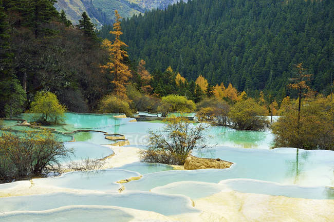 Lime terraces with lakes in autumnal environment — Stock Photo