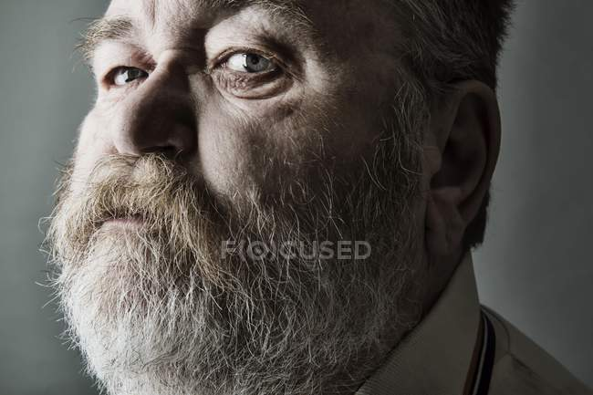 Obese senior with full beard — Stock Photo