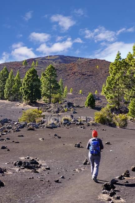 Mulher na trilha, Montana Negra vulcão — Fotografia de Stock