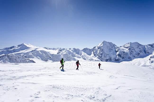 Лыжники во время спуска с горы — стоковое фото