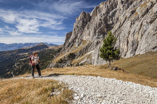 Альпініст на план-де-Sieia в Селла групи на Перевал Селла — стокове фото