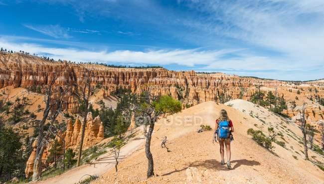 Мандрівного з рюкзак на стежці у дивні краєвид — стокове фото
