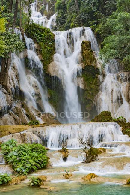 Scenic view of Kuang Si waterfall with cascades, in Laos, Asia — Stock Photo