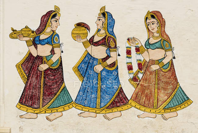 Traditional wall painting in City Palace, Udaipur, Rajasthan, India, Asia — Stock Photo