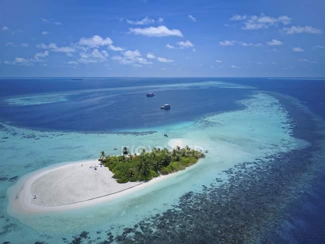 Необитаемый остров с пальмовых деревьев, песчаный пляж и коралловый риф, Ари Атолл, Мальдивы — стоковое фото