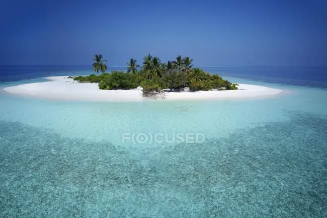 Необитаемых Палм-Айленд с песчаный пляж и коралловый риф, Ари Атолл, Мальдивы — стоковое фото