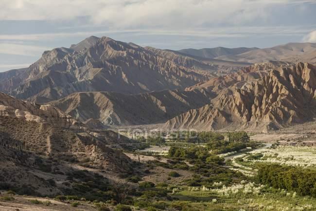Valle verde en el paisaje de montaña estéril extrañas en América del sur de la provincia de Salta, Argentina, - foto de stock