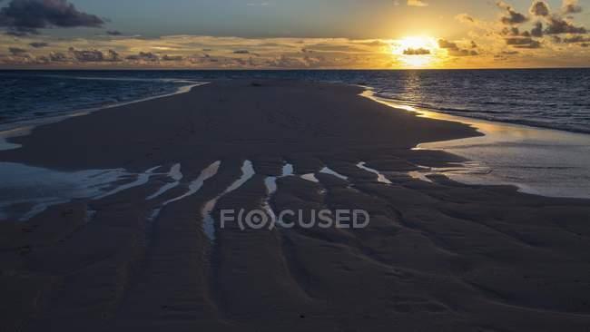 Песчаный пляж на закате, остров Gangehi, Ари Атолл, Мальдивы — стоковое фото