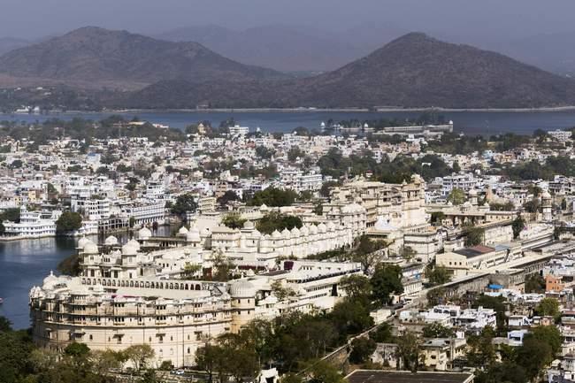 Luftaufnahme des Stadtschlosses in Jaipur, Rajasthan, Indien, Asien — Stockfoto