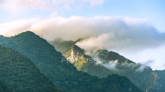Montagne nebbiose del Carso con foresta tropicale Nong Khiaw, Laos, Asia — Foto stock