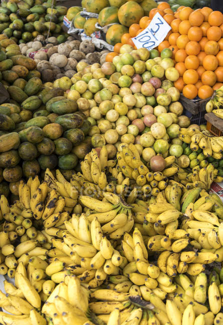 Tropical fruits on display at market stall — Stock Photo