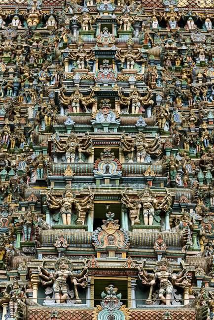 Деталь Западная башня Амман храм Минакши, Мадурая, Тамил Наду, Индия, Азия — стоковое фото