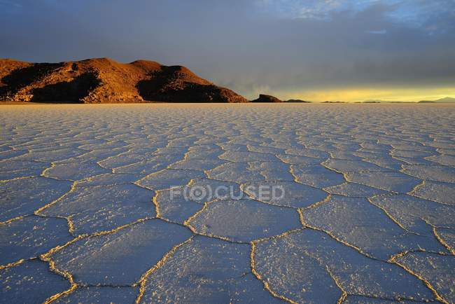 Waben Sie-Struktur auf Salzsee bei Sonnenaufgang, Salar de Uyuni, Uyuni, Potosi, Bolivien, Südamerika — Stockfoto