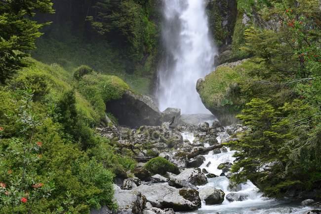 Водоспад між щільна тропічних лісів рослинності в Exploradores долині, Чилі, Південній Америці — стокове фото