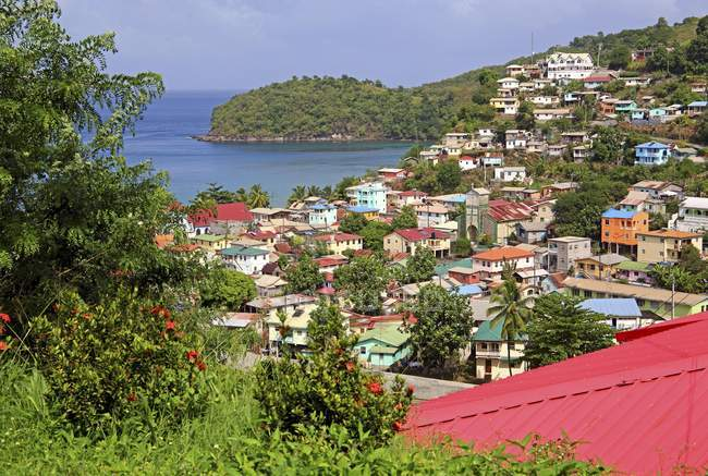 Local overview of  fishing village Canaries, Lesser Antilles, West Indies, Caribbean Islands — Stock Photo