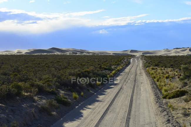 Sandtrack nel paesaggio al Punta Pardelas della Patagonia, Argentina, Sud America — Foto stock