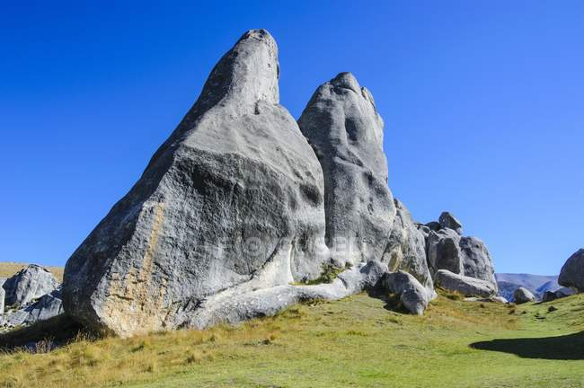 Limestone outcrops on Castle Hill, South Island, New Zealand, Oceania — Stock Photo