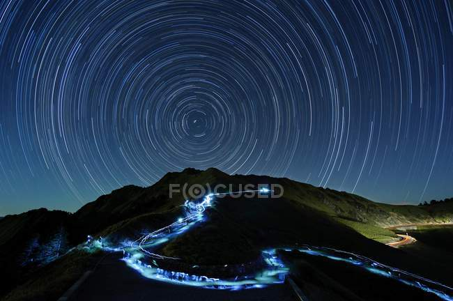 Hehuan Mountain at night with time exposure star trails, Taiwan, China, Asia — Stock Photo