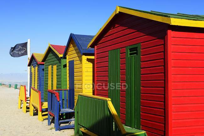 Colorful Beach Cottages With Shark Flag Muizenberg False Bay Western Cape South