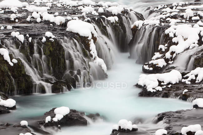 Bruarfoss waterfall with flowing water at winter, Southern Region, Iceland, Europe — Stock Photo