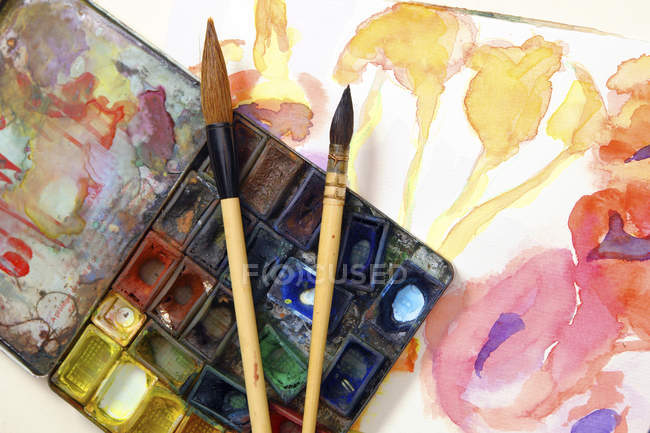 Used watercolor box with Chinese brushes on incomplete flower picture — Stock Photo
