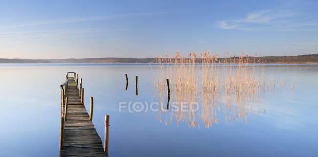 Muelle estrecho de luz matutina por lago Plau, Plau am See, Mecklenburg-Western Pomerania, Alemania, Europa - foto de stock