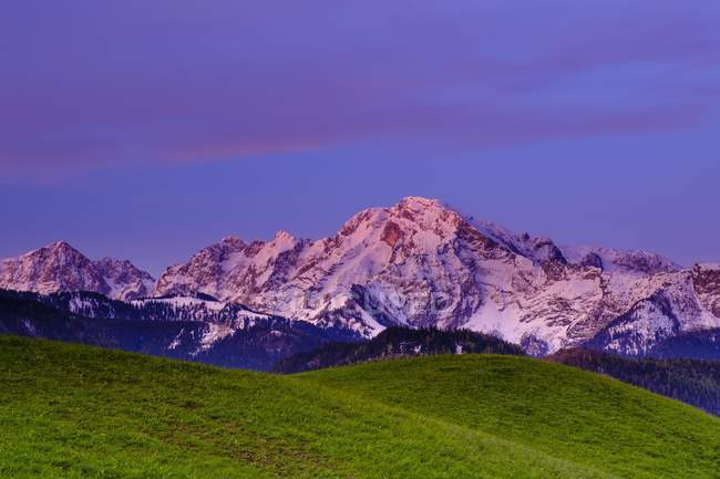 Hoher Goll mountain in sunlight at dawn, Berchtesgadener Land, Bavaria, Germany, Europe — Stock Photo