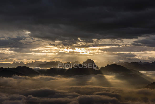 Bregenzerwald mountains with clouds in early morning, Bregenz Forest, Vorarlberg, Austria, Europe — Stock Photo
