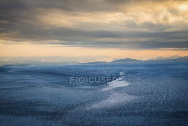 Aerial view of ice sheet at dawn in Greenland — Stock Photo