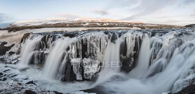 Flowing water of Kolugljufur waterfall, Northwestern Region, Iceland, Europe — Stock Photo