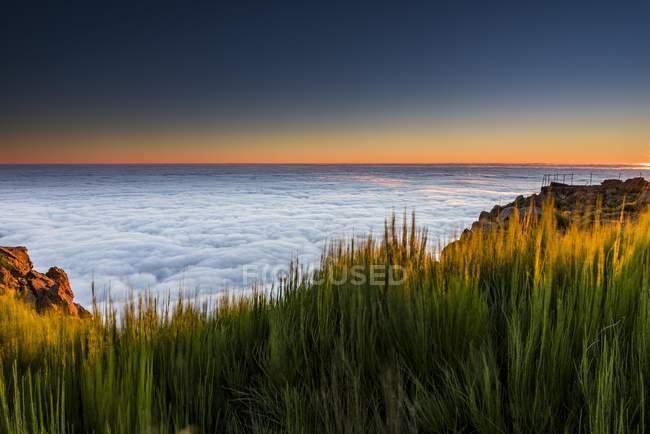 Восход солнца с морем тумана, Пико де Arieiro, Фуншал, Мадейра — стоковое фото