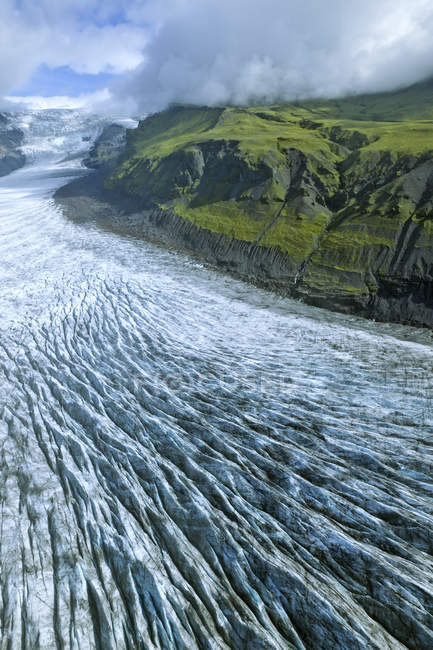 Aerial view of flowing water at Svinanesjoekull Glacier, Southern Region, Iceland, Europe — Stock Photo