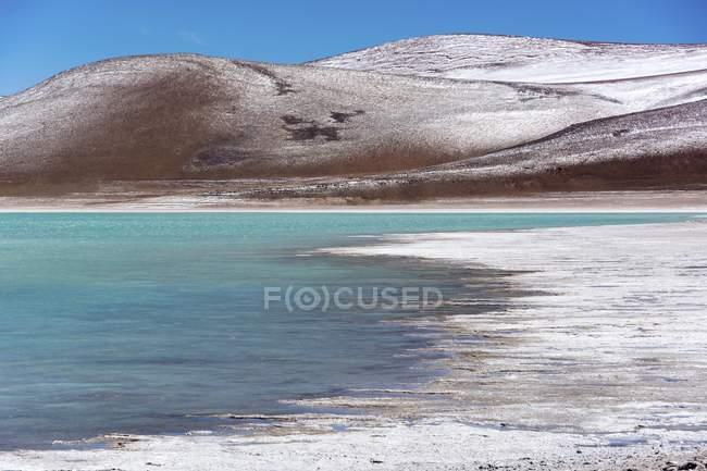 Lagune Verde mit Einlagen von Borax am Ufer und Schnee in den Bergen in der Nähe von Uyuni, Altiplano, Chile, Südamerika — Stockfoto