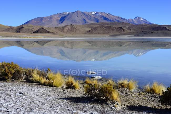 Berge im Laguna Ramaditas See Wasser, Nor Lipez Provinz, Potosi Abteilung, Bolivien, Südamerika — Stockfoto