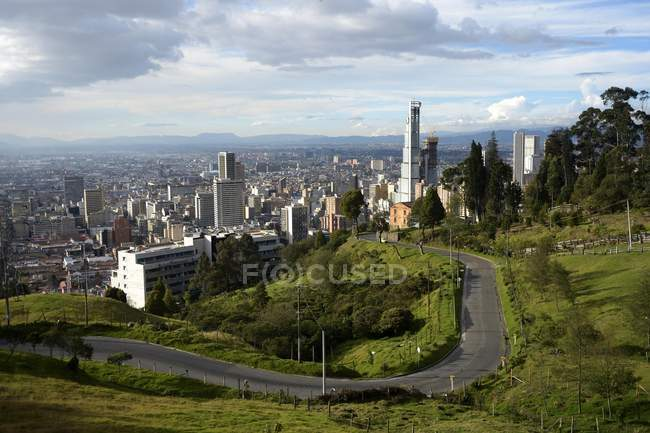 High angle view of Bogota from Turbay Ayala, Colombia, South America — стокове фото