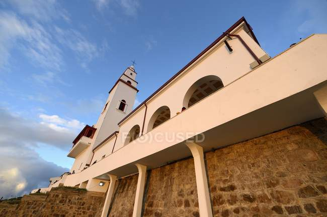 Santuario de Monserrate church on mountain, Cerro Monserrat, Bogota, Colombia, South America — стоковое фото