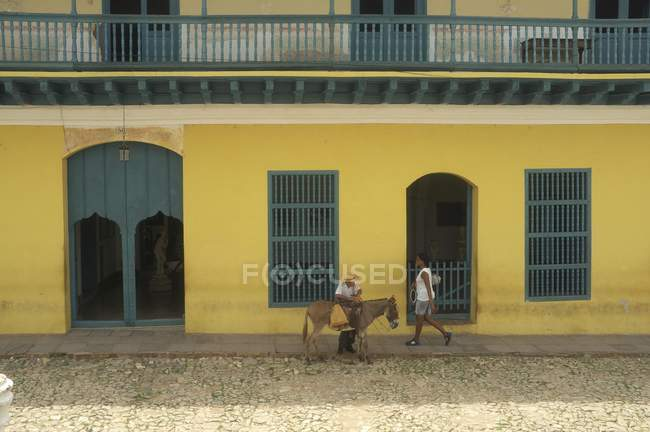 Urban scene with local people and donkey, Trinidad, Cuba, Central America - foto de stock