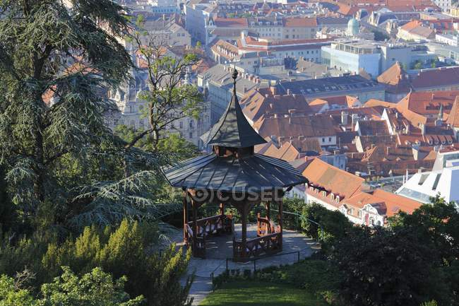 Chinese Pavilion at Schlossberg castle hill, Graz, Styria, Austria, Europe — Stock Photo