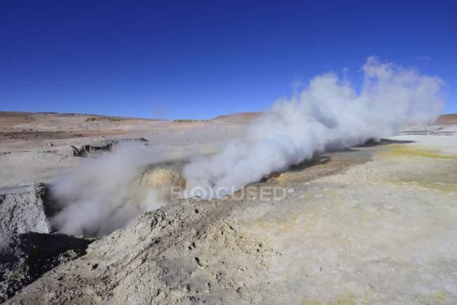 Sol de Manana geothermal field in Sur Lipez, Potosi, Bolivia, South America — стоковое фото