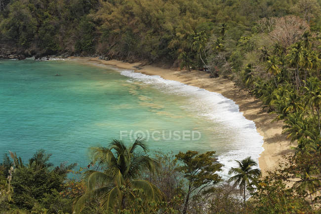 Sandy beach of Parlatuvier Bay, Tobago, Trinidad and Tobago, North America — Photo de stock