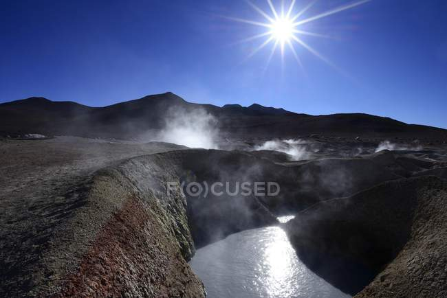 Champ géothermique Sol de Manana en Amérique du Sud Sur Lipez, Potosi, en Bolivie, — Photo de stock
