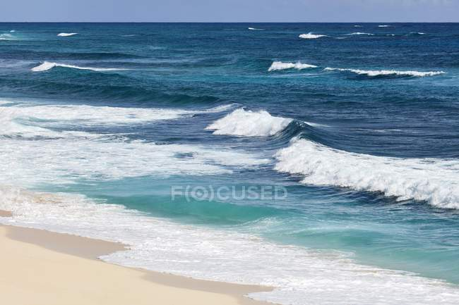 Surf waves of turquoise water on sandy beach of Elbow Cay, Abacos, Bahamas, Central America — Stock Photo