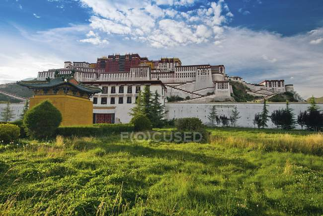 Potala Palace on green meadow in Lhasa, Tibet — Fotografia de Stock