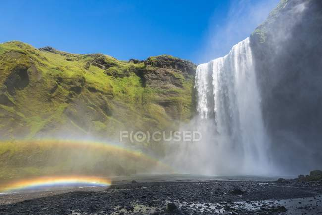 Scenery of waterfall Skogafoss with double rainbow, Iceland, Europe — Stock Photo