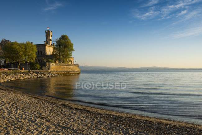 Montfort castle at sunset on shore of Lake Constance, Baden-Wurttemberg, Germany, Europe — Stock Photo