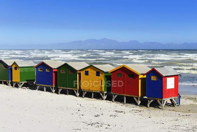 Colorful Beach Cottages On Sandy Muizenberg False Bay Western Cape South