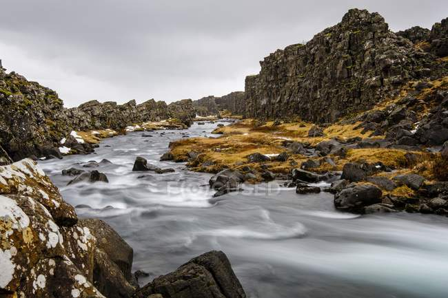Lava rocks of river Oxara, Thingvellir National Park, Golden Circle, Southern Region, Iceland, Europe — Stock Photo