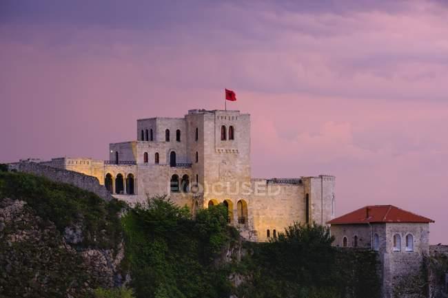 Skanderbeg Museum at dusk, Kruja, Kruje, Durres Qar, Durres, Albania, Europe — стокове фото