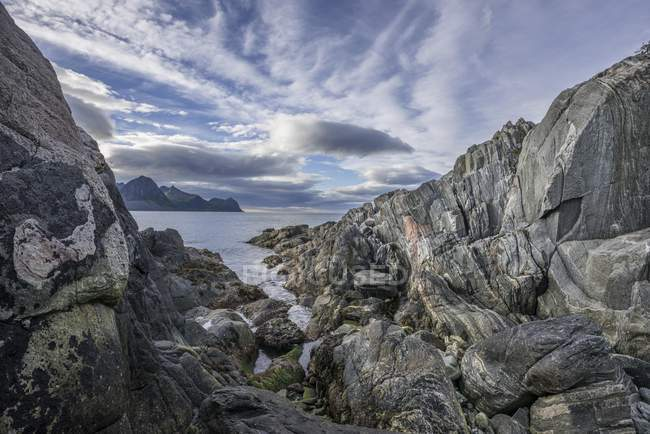 Rock structures on coast near Husoy, Senja Island, Tromso, Norway, Europe — Stock Photo