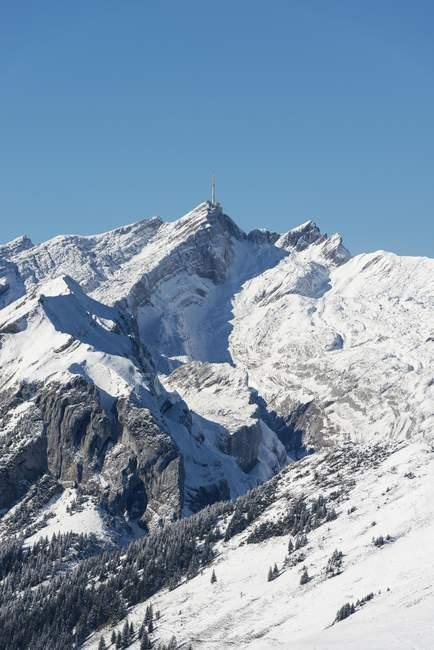 Snow-covered Saentis mountain, canton of Appenzell Innerrhoden, Switzerland, Europe — Stock Photo
